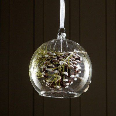 Snowdrift Dangling Glass Pinecone Ornament Set of 6 by Sage  Co
