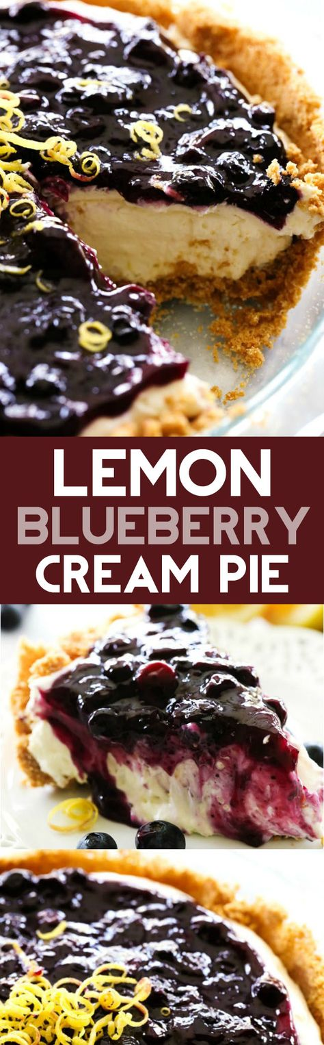 Lemon Blueberry Cream Pie... A delicious and fresh lemon cream pie in a homemade graham cracker crust and topped with the most delicious homemade blueberry sauce. This is a perfect summertime treat!