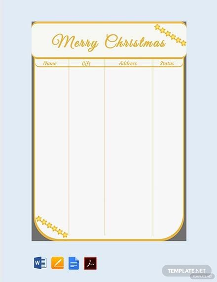 Free Christmas Shopping Gift List Template Pdf Word Doc Apple Mac Pages Christmas Gift Shop Christmas Names List Template