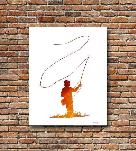 Photo of Fly Fishing Art Print – Abstract Watercolor Painting – Wall Decor