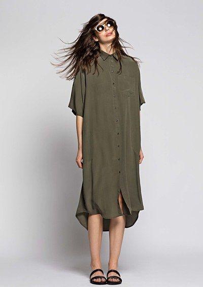 Osklen, Look Long, loose, olive-green shirt dress.