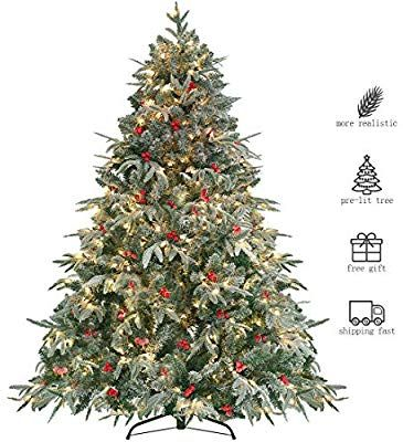 Amazon Com Homaker Pre Lit 9ft Artificial Christmas Tree Feel Real Snow Flo 6ft Artificial Christmas Tree Artificial Christmas Tree Christmas Tree Background