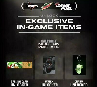 Call Of Duty Modern Warfare Calling Card Watch Charm Doritos Dew Drop Code Callofduty Cod Gaming Modern Warfare Calling Cards Call Of Duty