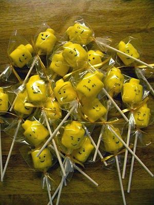 Just A Frugal Mom: Lego Birthday Party--Marshmallow Lego Head Pops for party favor