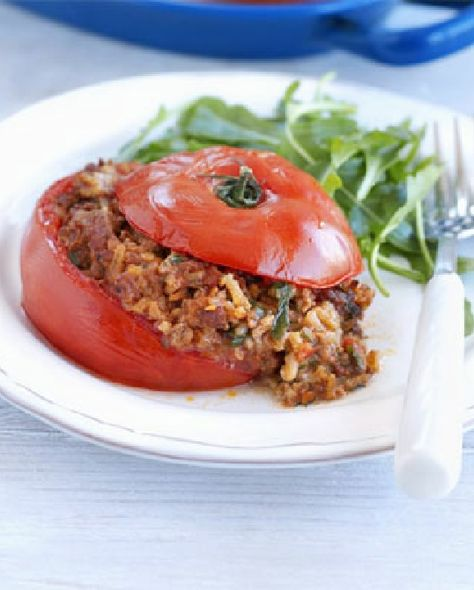 Low Fodmap Recipe And Gluten Free Recipe Stuffed Tomatoes With Lamb Mince Dill Rice With Images Dill Rice Bbc Good Food Recipes