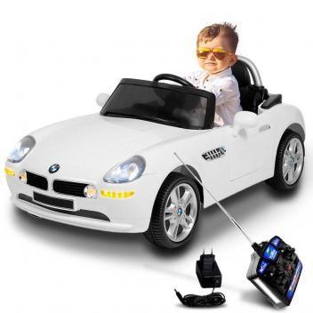 Carro Eletrico Infantil Bmw Z8 2 Portas Com Controle Remoto Branco