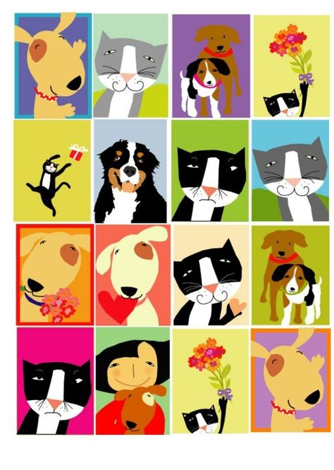 gift tags cute dogs and cats 16 assorted by LizzyClara on Etsy, $5.00