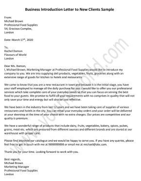 Business Introduction Letter To New Clients Sample Introduction
