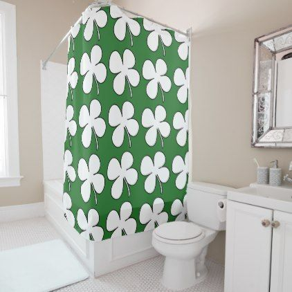 Hipster Shower Curtain Shamrock Pattern Retro Shower Gifts Diy