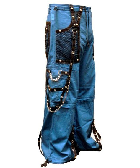 "Tripp NYC ""Arctic Nightmare"" Bondage Pants (Blue). These pants have it all Chrome Steel Chains metal zippers and devilish red material with black contrast accents. Tripp NYC ""Arctic Nightmare"" Bondage Pants Feature deep front pockets oversized back pockets and decorated cargo pockets and have enough storage to fit all your goodies and baddies."
