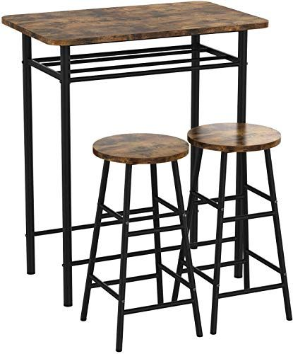 Amazing Offer On Ironck 3 Piece Pub Bar Table Set Industrial High Top Table Set Kitchen Dining Bar Table 2 Bar Stools Chair Easy Assemble Industrial Style In 2020 Pub Table