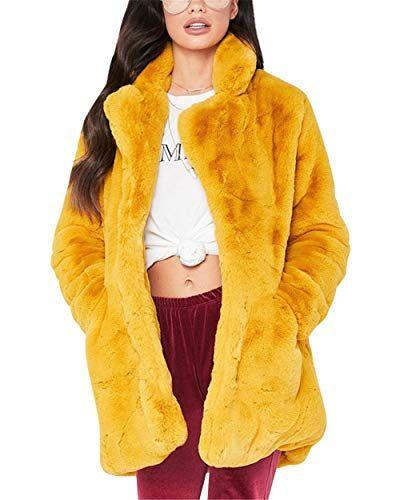 Keaac Womens Casual Long Sleeve Faux Fur Jacket Open Front Cardigan