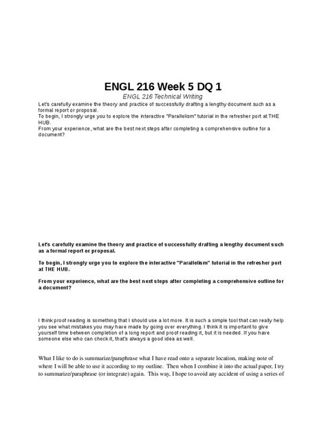 ENGL 216 Week 6 DQ 1 ENGL 216 Technical Writing Pinterest - formal report format template