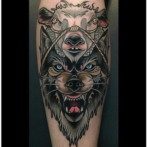 Wolf In Sheep 039 S Clothing Tattoos Take An Ancient Idiom And Create Some Inspiring Tattoos Wi Wolf Tattoo Traditional Sheep Tattoo Traditional Tattoo Sleeve