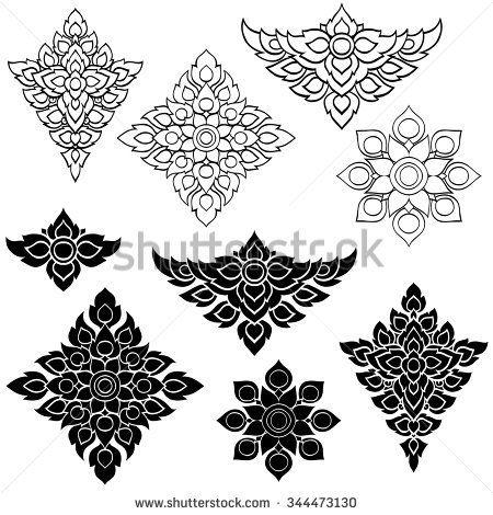 Line Thai art design Vector illustration