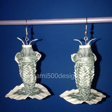 Money Origami Koi Fish Earrings