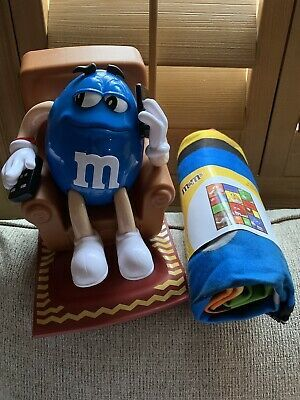 2020 M&M Candy Cane Christmas Dispenser Blue M&M's Candy Dispenser Recliner Couch Couch Potato Cell Phone