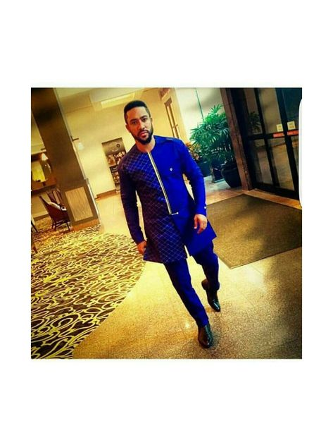 blue majid caftan style, african men outfit