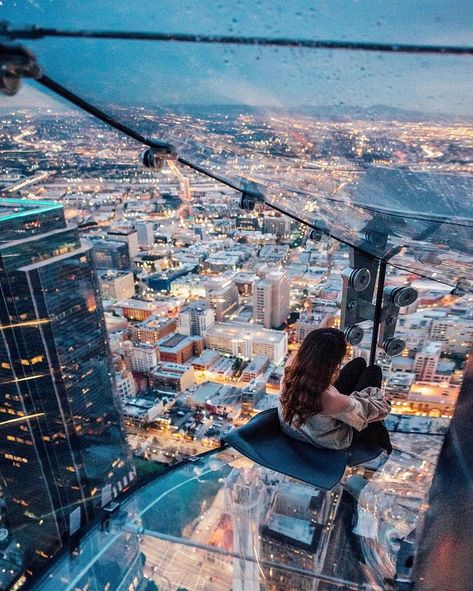 Test your fear of heights by booking a party overlooking the city of Los Angeles at the OUE Skyspace LA. | Photo Credit: taramilktea