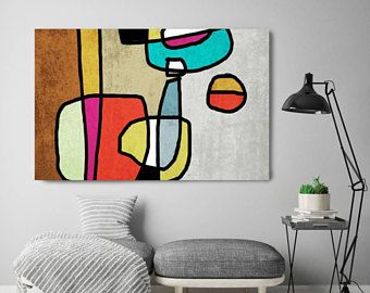 Vibrant Colorful Abstract-54 Mid-Century Modern Green Purple Canvas Art Print Mid Century Modern Canvas Art Print up to 72 by Irena Orlov