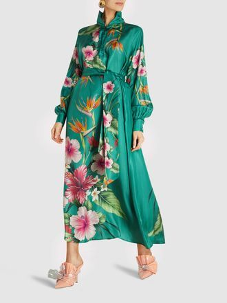 F R S For Restless Sleepers Anfitrite Printed Cupro Maxi Dress Dresses Ankle Length Dress Midi Dress With Sleeves