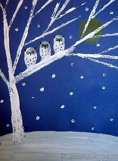 Night Snow Owls : use pieces of cardboard dipped in white paint to make lines for tree branches