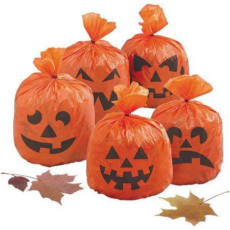 Walmart.Com Recetas Halloween 2020 20ct Orange Pumpkin Plastic Leaf Bags, Halloween Hanging
