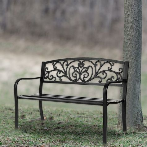 Fleur De Lis Living Migel Powder-Coat Steel Park Bench  Reviews | Wayfair