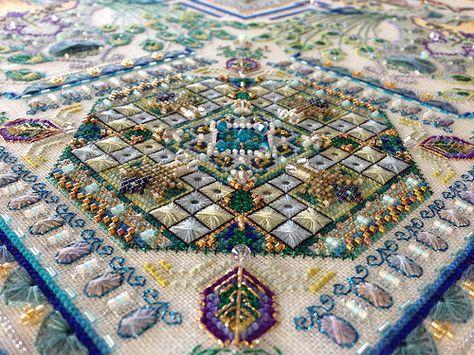 Peacock Garden - a counted thread mandala by Châtelaine Designs