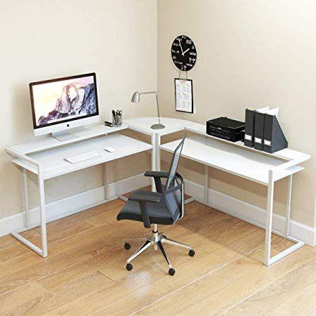 Ryan Rove Belmac Glass Large Modern L Shaped Desk Corner Computer