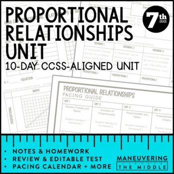Proportional Relationships Unit 7th Grade Math 7 Rp 1 7 Rp 2