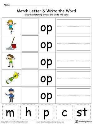 Op Word Family Match Letter And Write The Word In Color In 2021 Word Family Worksheets Kindergarten Word Families Worksheets Kindergarten Word Families