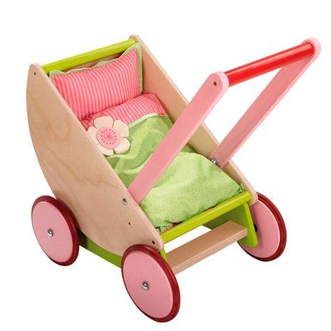 Cochecito para muñeca de madera color rosa de Pintoy