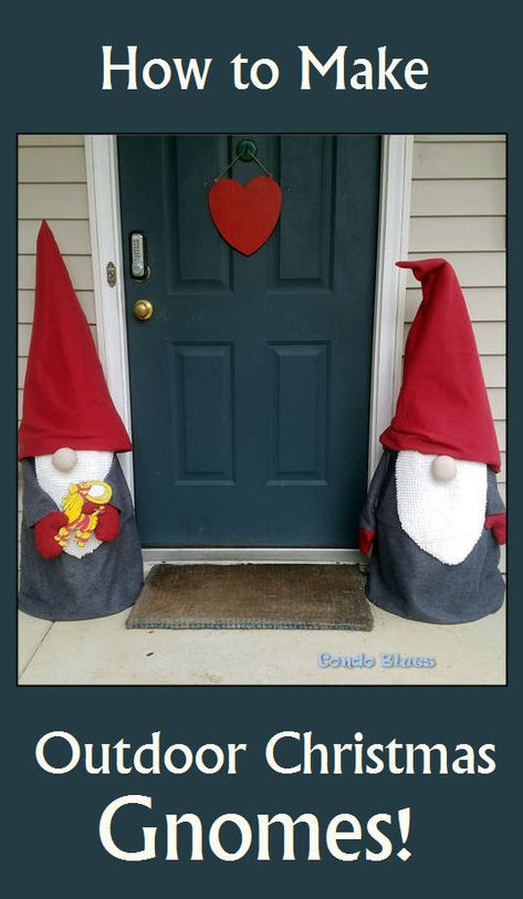 How to make giant outdoor Scandinavian Christmas tomte nisser gnome decorations from a tomato cage Nordic Christmas, Christmas Gnome, Outdoor Christmas, Christmas Projects, Holiday Crafts, Christmas Holidays, Christmas Ornaments, Christmas Ideas, Christmas Crafts To Make