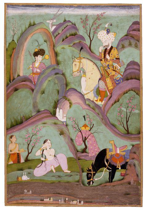 "Miniature. ""Khusraw Beholding Shirin Bathing""  India, Deccan, Hyderabad; c. 1720-1740"