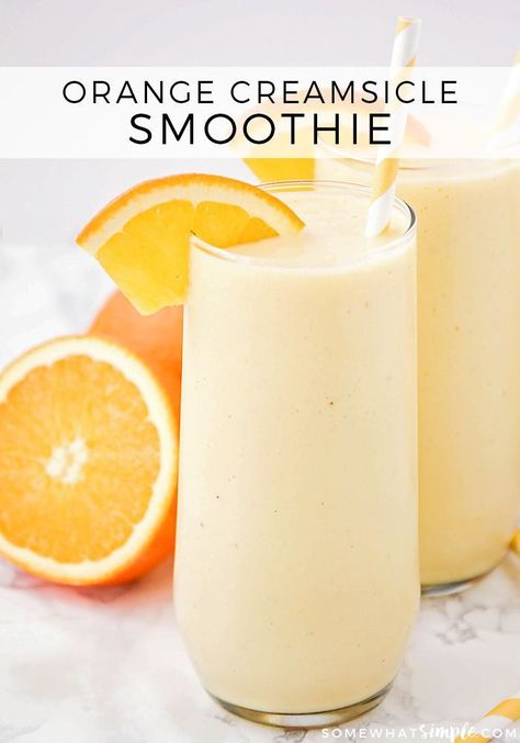 This sweet and refreshing orange creamsicle smoothie is perfect for an easy brea. This sweet and refreshing orange creamsicle smoothie is perfect for an easy breakfast or healthy snack! It& so flavorful, and totally delicious! Orange Creamsicle Smoothie Recipe, Creamsicle Drink, Fruit Smoothie Recipes, Yummy Smoothies, Smoothie Drinks, Yummy Drinks, Healthy Drinks, Healthy Recipes, Orange Smoothie