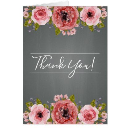 printable diy wedding photo thank you card chalk floral elegant black and white flowers rose chalkboard wreath customised personalised