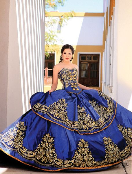 9d1cb23914 2017 Royal Blue Ball Gown Embroidery Crystals Quinceanera Dresses ...
