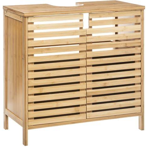 Meuble Sous Vasque De Salle De Bain Sicela Bambou Pas Cher A Prix Auchan Holz Waschbeckenunterschrank Bambus