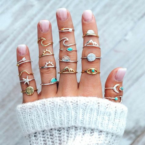 19 Pcs/set Fashion Rings Gold Silver Gem Pentagram Ocean Wave Arrow Moon Finger Ring Set Women Charm Part Shop & Buy Jewelry Sets Online Jewelry Party, Cute Jewelry, Jewelry Sets, Jewelry Accessories, Accessories Online, Women Jewelry, Jewelry Rings, Jewelry Tree, Jewelry Holder
