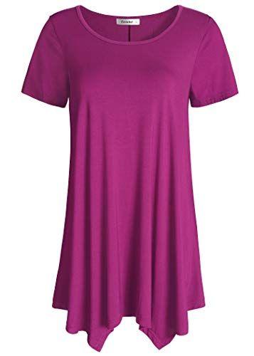 Esenchel Womens 3//4 Roll Sleeve Tunic Top High Low Blouse Shirt
