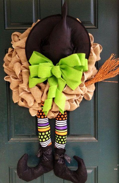 Witch Burlap Halloween Wreath