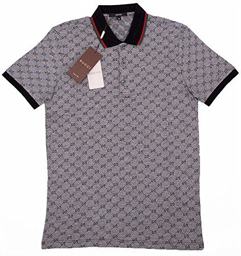 ebb3bf7e0493 Gucci Polo Shirt, Mens Gray Short Sleeve Polo T- Shirt GG Print All Sizes  (S)