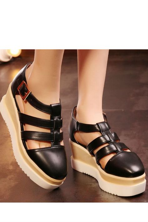 Black T-Strap Point Toe Platform Creepers