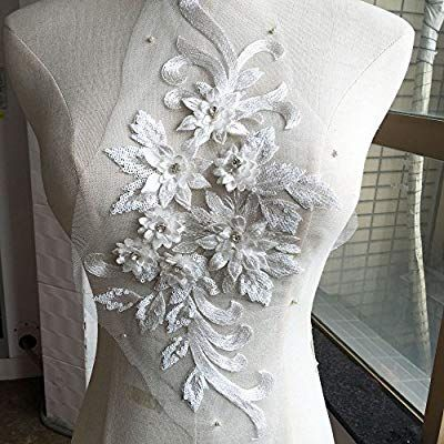 Beaded Wedding Dress Lace Appliques Off-White Embroidery Floral Patch