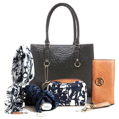 Natalie Ostrich Shopper in Black Ostrich with 5 piece Essentials Box set!! @ Emilie M Handbags