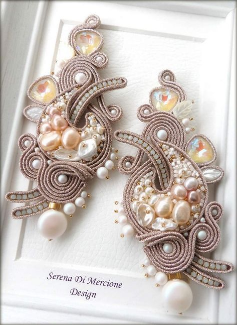 Soutache Earrings Handmade Bridal Ivory Pearl Original Gift Woman Glamour Casual