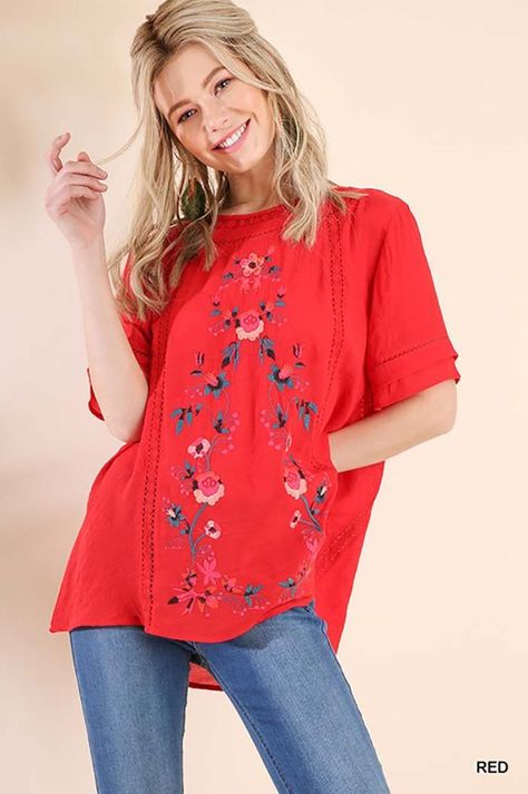2f2619353e Jenny Embroidered Top : Red – GOZON Boutique | Bohemian Mood ...