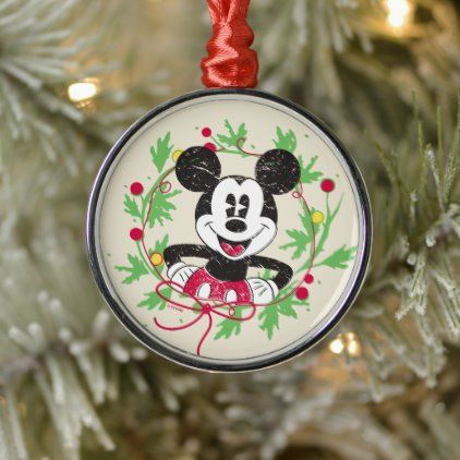 Vintage Mickey Mouse Christmas Wreath Metal Ornament Zazzle Com Vintage Mickey Vintage Mickey Mouse Mickey Mouse Art