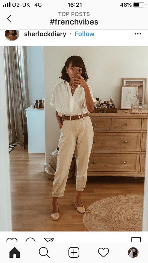 Cream trousers white blouse